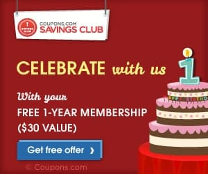 Coupons.com Savings club 1 year free membership