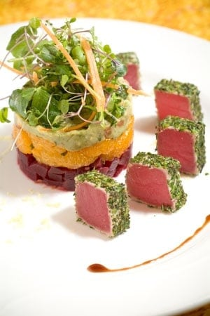 Chilled Herb Crusted Tuna over a red beet, mandarin orang and Avocado chilled salad