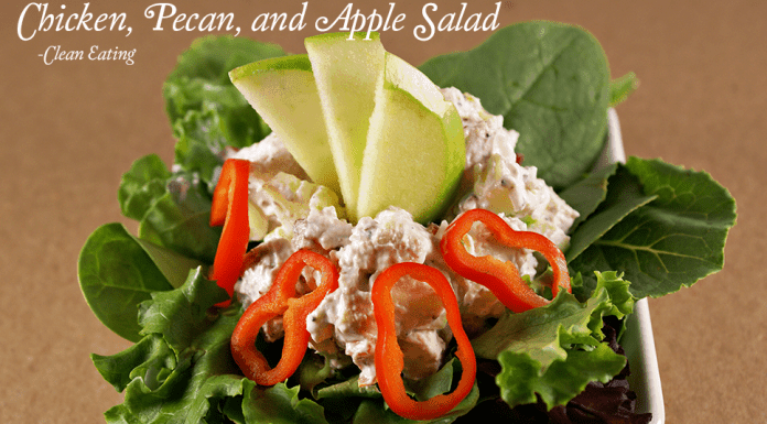 My Chicken, peacan, apple salad is super healthy and it's a great clean eating recipe!