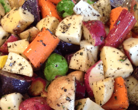 My oven roasted potatoes, brussels sprouts, and rainbow carrots are sure to be an amazing hit with your family!