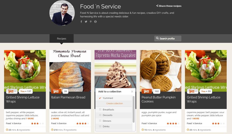 Yummly online recipe box
