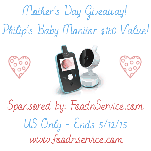 Enter the Philip's Baby Monitor Giveaway. Ends 5/12.