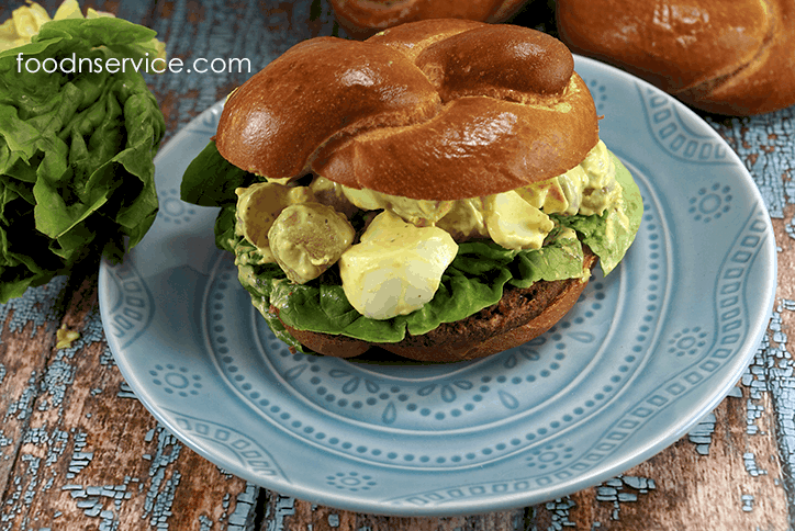 gardein burger with deviled egg potato salad