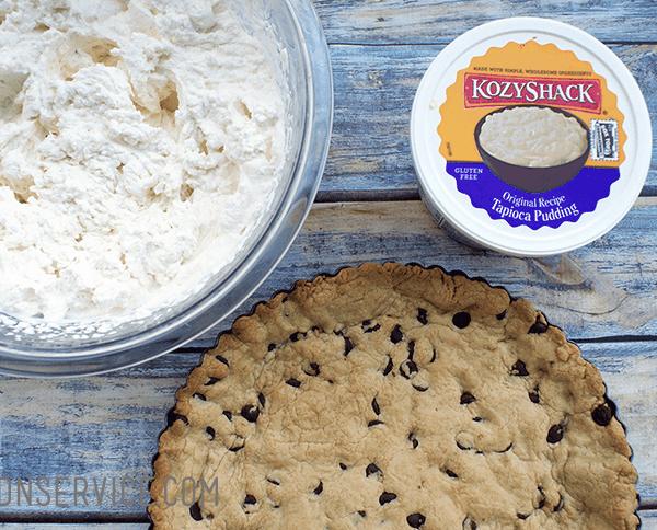 Chocolate Chip Cookie Crust with Tapioca pudding and whipped cream! #Summerofpudding #kozyshack #tapiocapudding