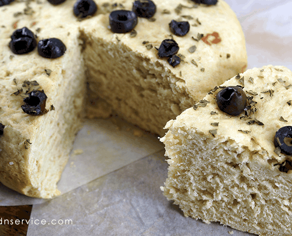 Rosemary Basil Crock Pot Bread Recipe. Topped with Kalamata Olives and Sea Salt.