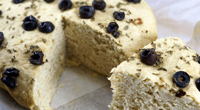 Rosemary Basil Crock Pot Bread Recipe. Topped with Kalamata Olives and Sea Salt.