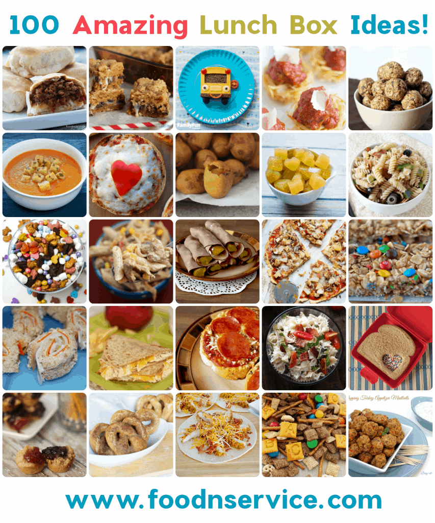 100 Amazing lunch box ideas to make for your kids! Now you'll have plenty of ideas on what to make for school lunches! Find more great articles @ foodnservice.com