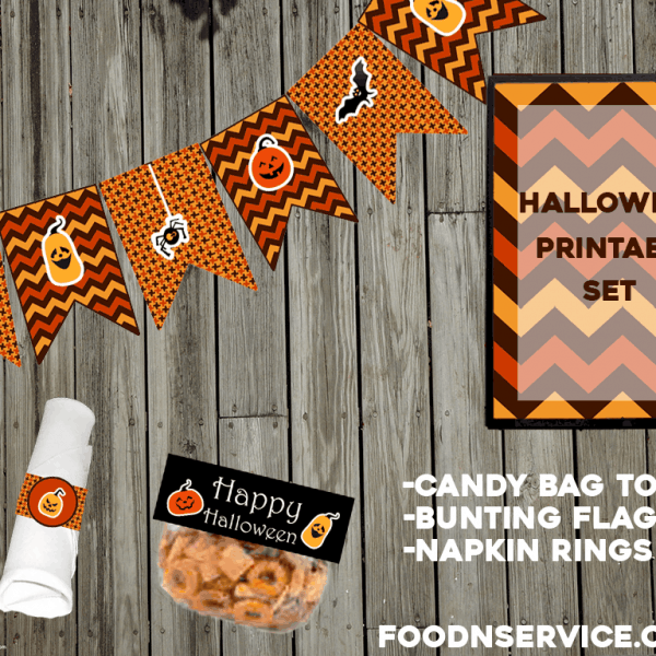 Free Halloween Party Printable Set to use for any Halloween party - kids or adults! foodnservice.com