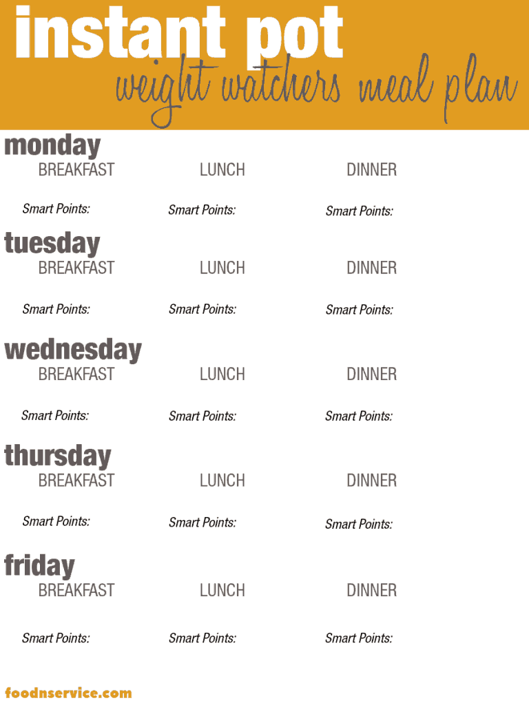 Instant Pot Weight Watchers recipes free printable meal planner