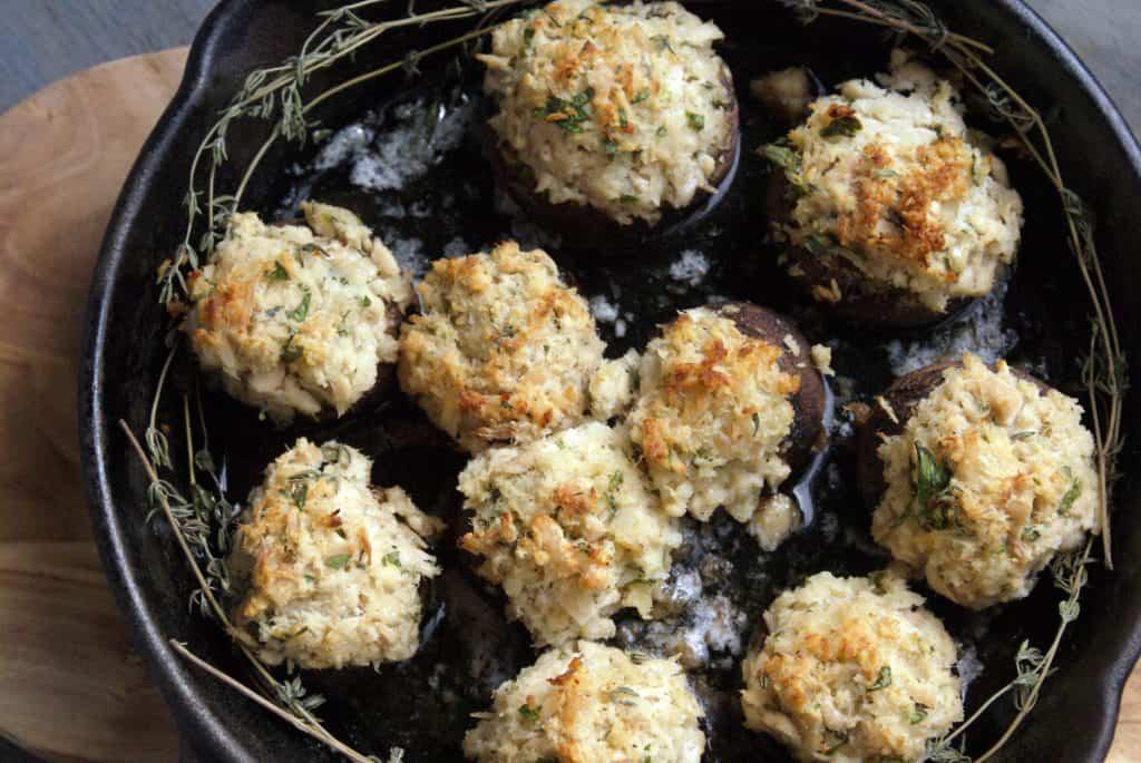 tuna stuffed mushrooms with thyme