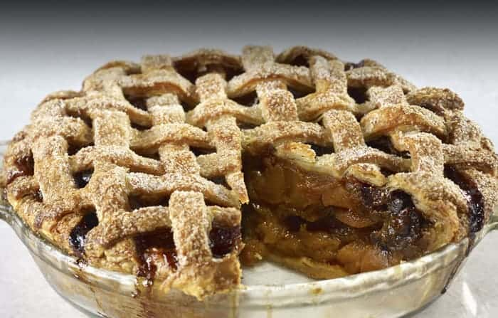 Holiday Apple Pie with Dried Fruit & Caramel Sauce