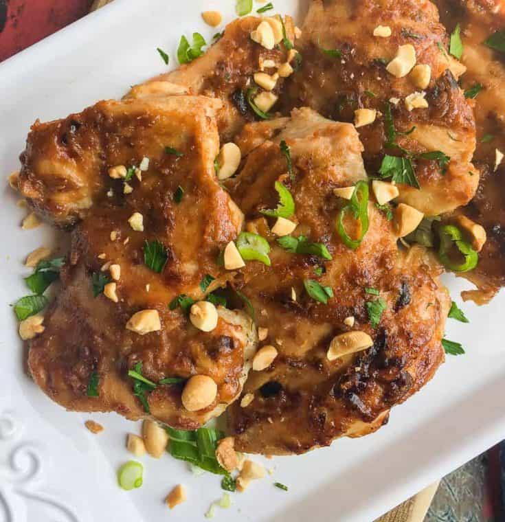 instant pot thai chicken thighs with peanut sauce