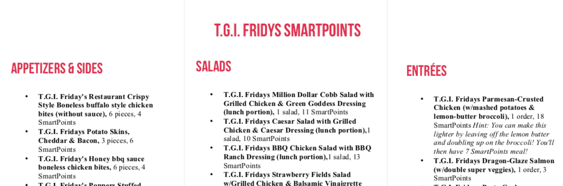 fridays ww menu printable image