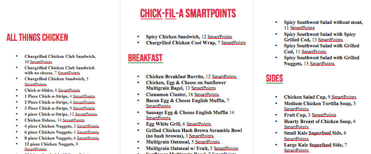 screen shot of chick fil a ww menu printable