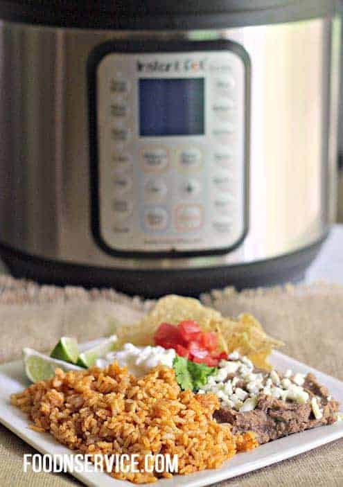 instant pot spanish rice plate with all the fixings