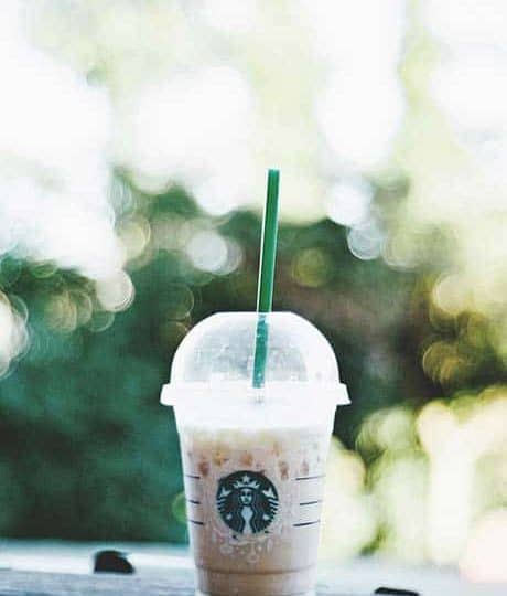 starbucks ww drink on a park bench