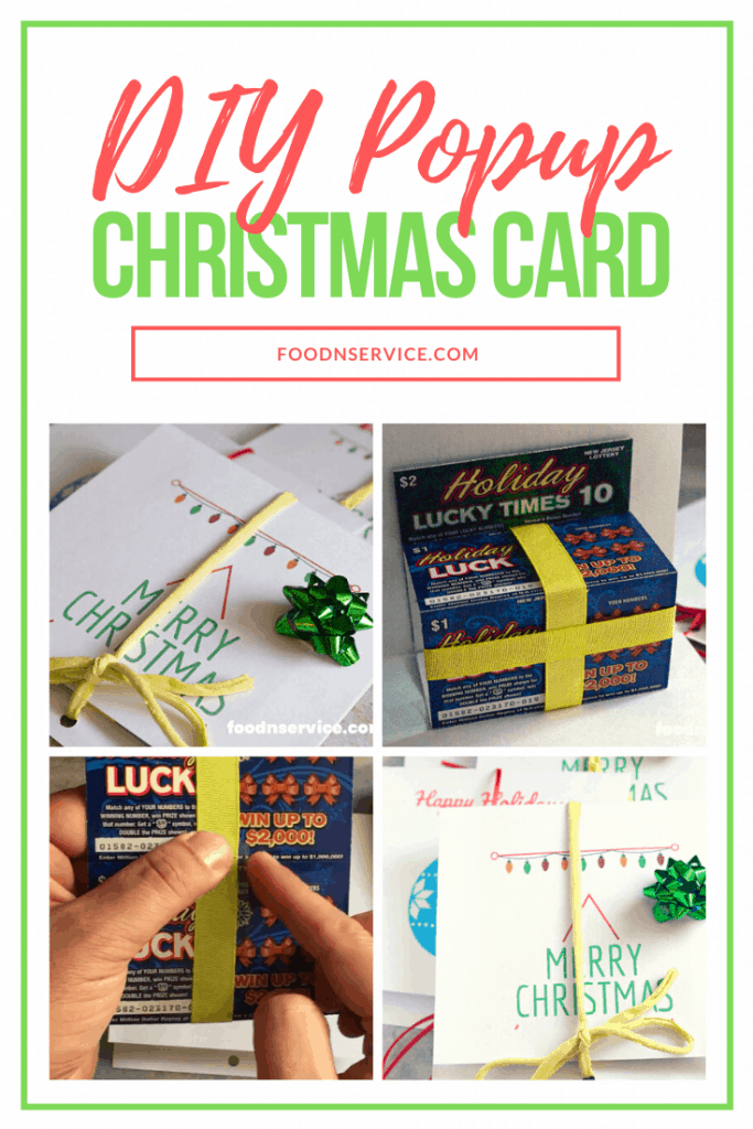 DIY Popup Christmas Card with green ribbon