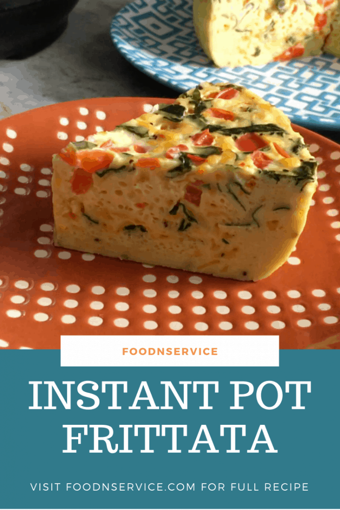 a slice of instant pot frittata on an orange plate