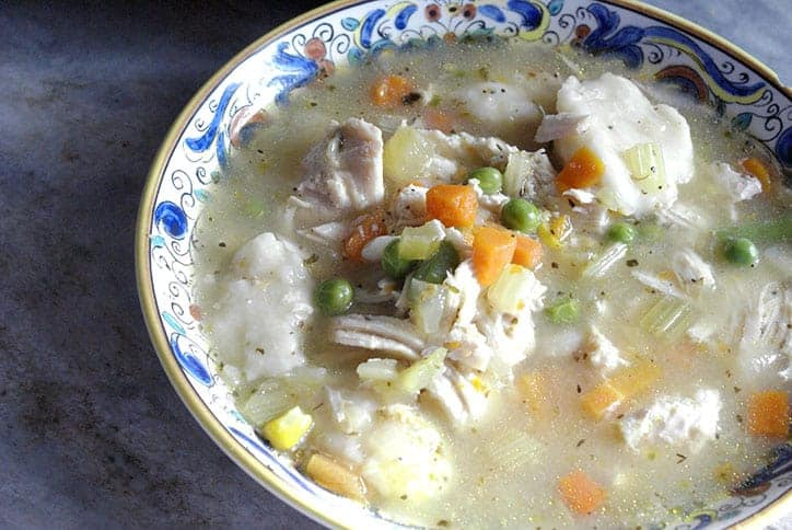 instant pot chicken and dumplings in a bowl