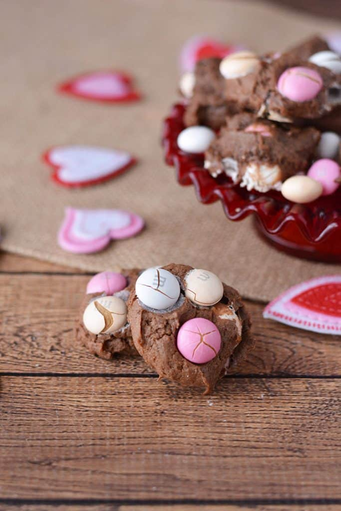 chocolate cookies with M&MS and red hearts