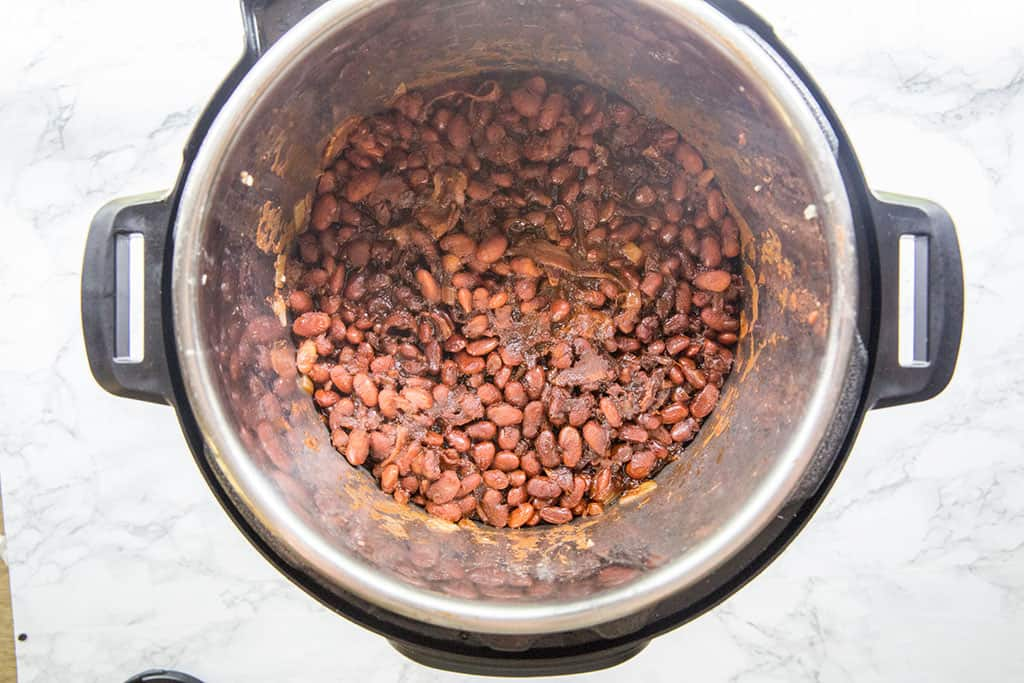 instant pot baked beans shown in the instant pot