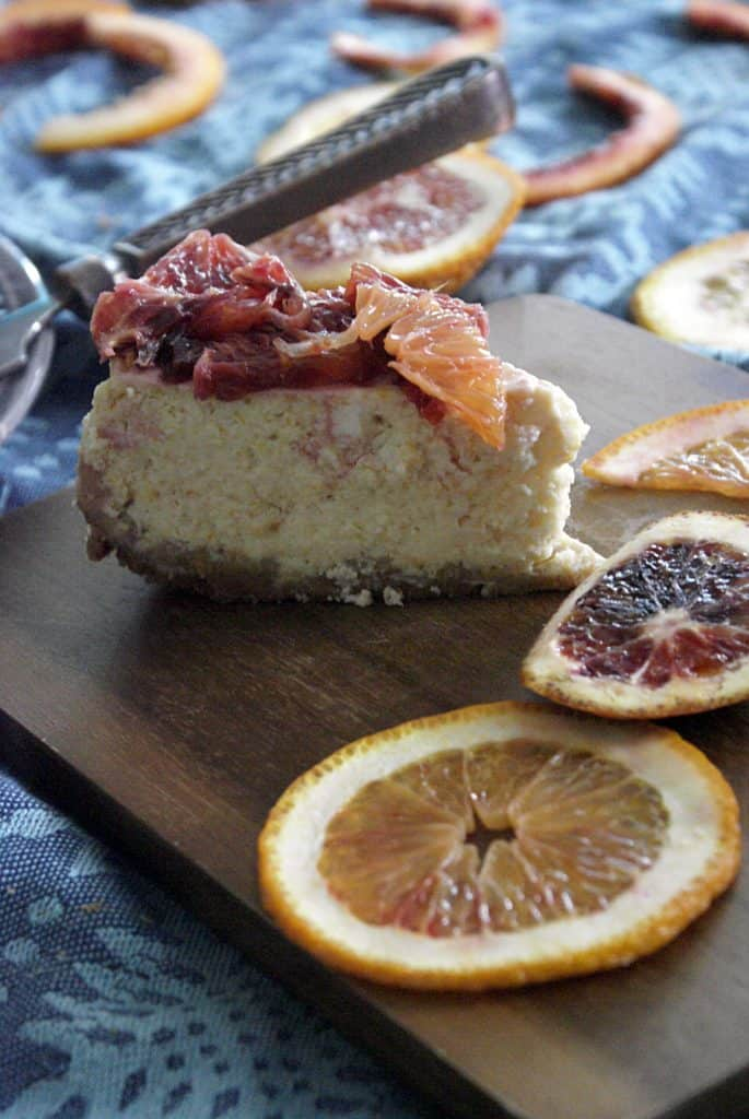 close up shot of my instant pot blood orange cheesecake