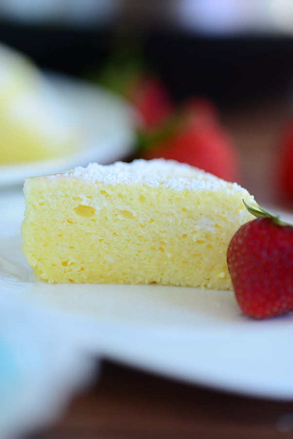 close up view of instant pot japanese cheesecake with strawberry