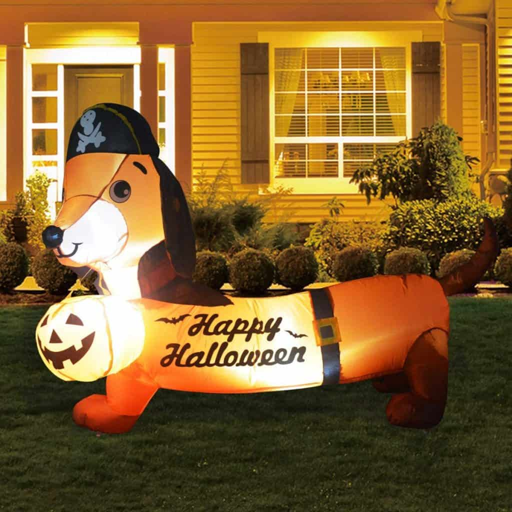 blowup dog halloween outdoor decoration