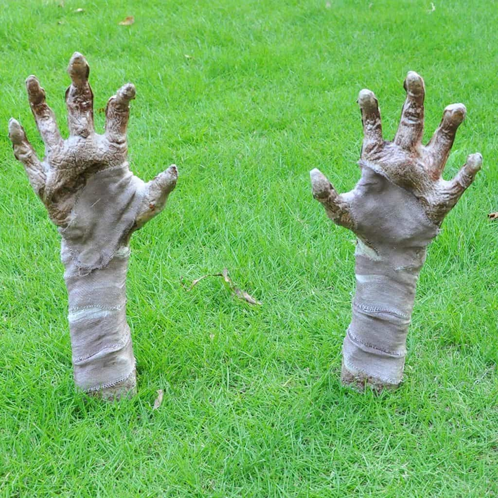 outdoor halloween decorations with zombie hands