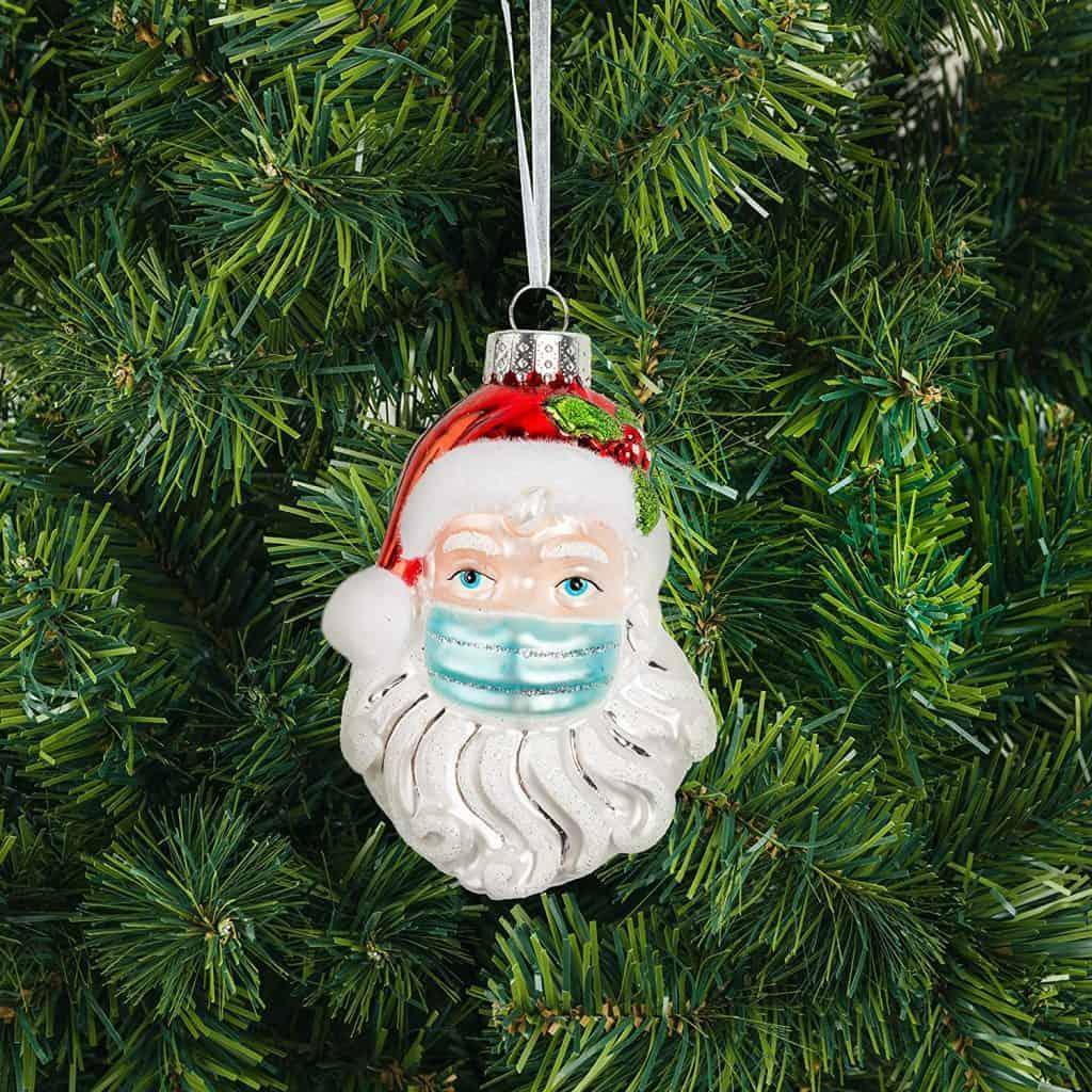santa with mask quarantine christmas ornament