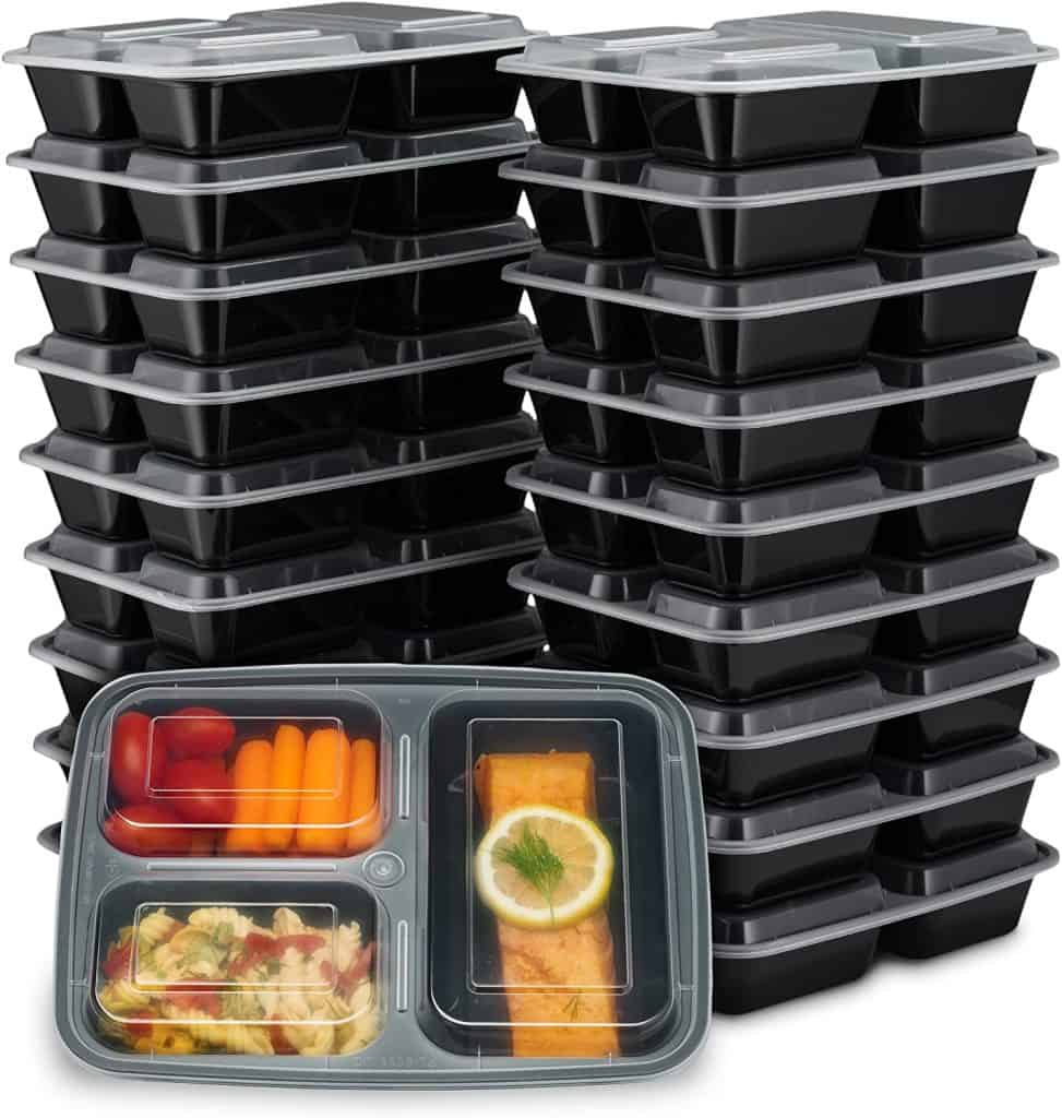 meal prep containers in a stack for a weight watchers gift idea