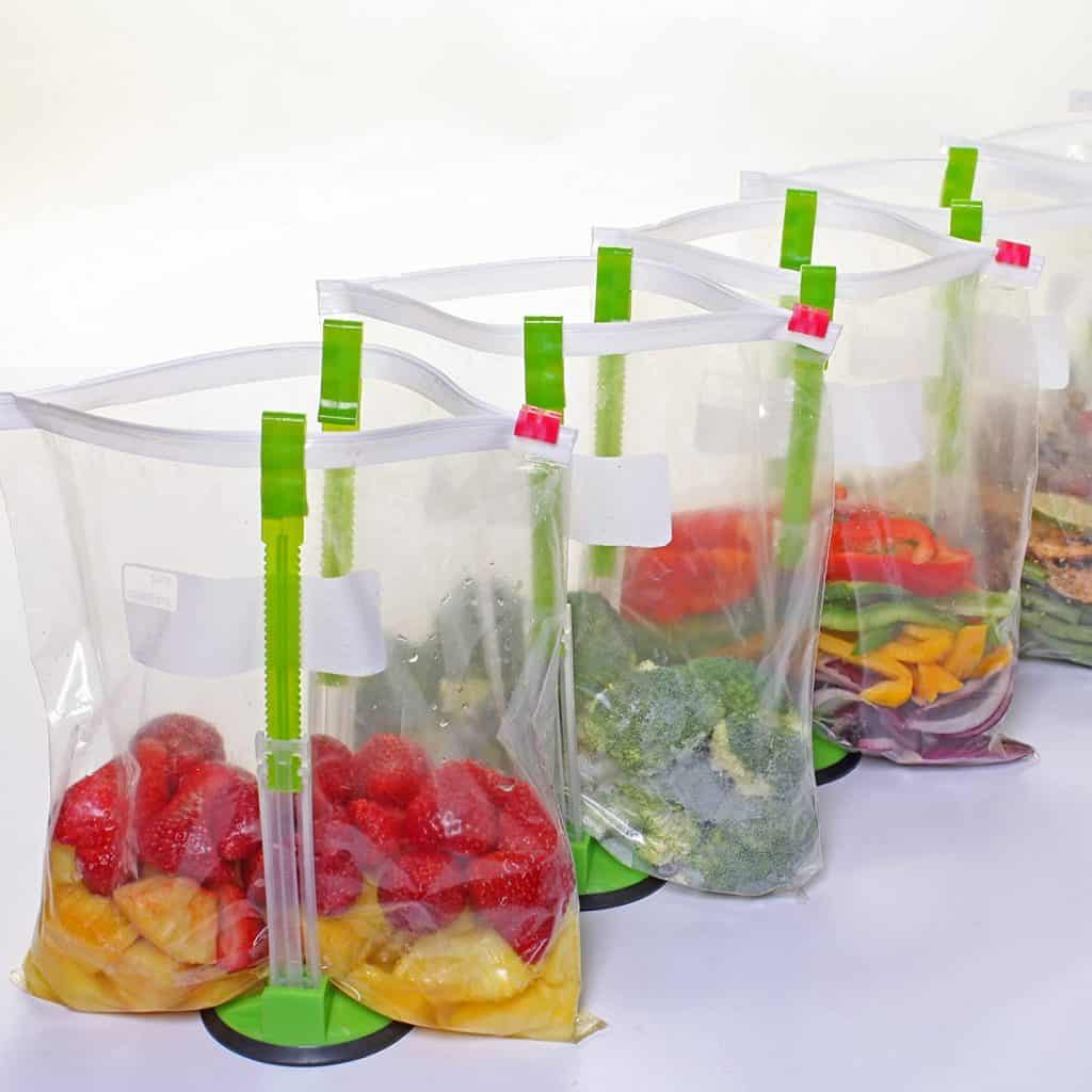 bags in stands for clever kitchen products with food in them