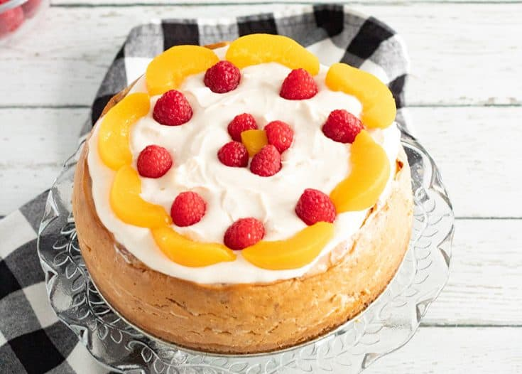 Instant Pot Raspberry Peach Cheesecake