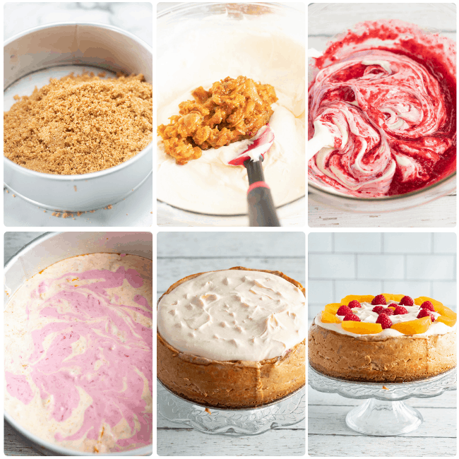 step by step visual process how to make raspberry peach cheesecake in the instant pot