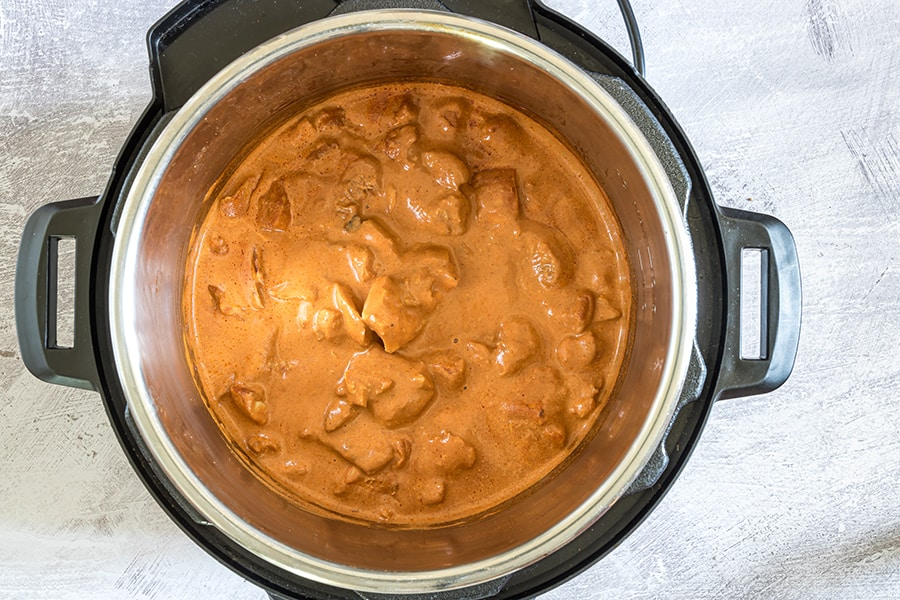 instant pot butter chicken final photo in the instant pot pressure cooker overhead shot