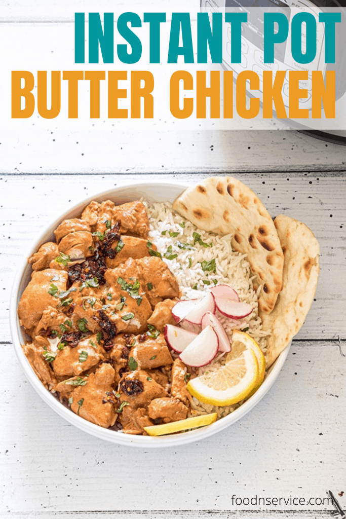 instant pot butter chicken pinterest image to use for social media