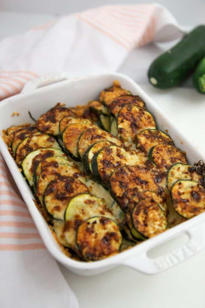 air fryer zucchini casserole au gratin in a white dish