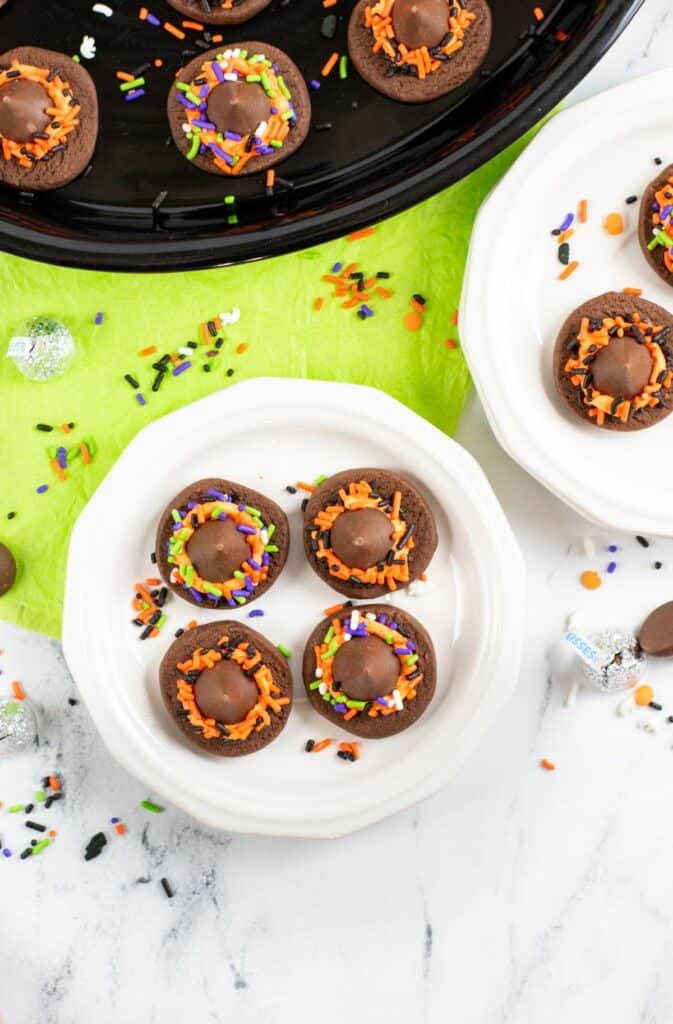 witch cookies made with chocolate shortbread cookies