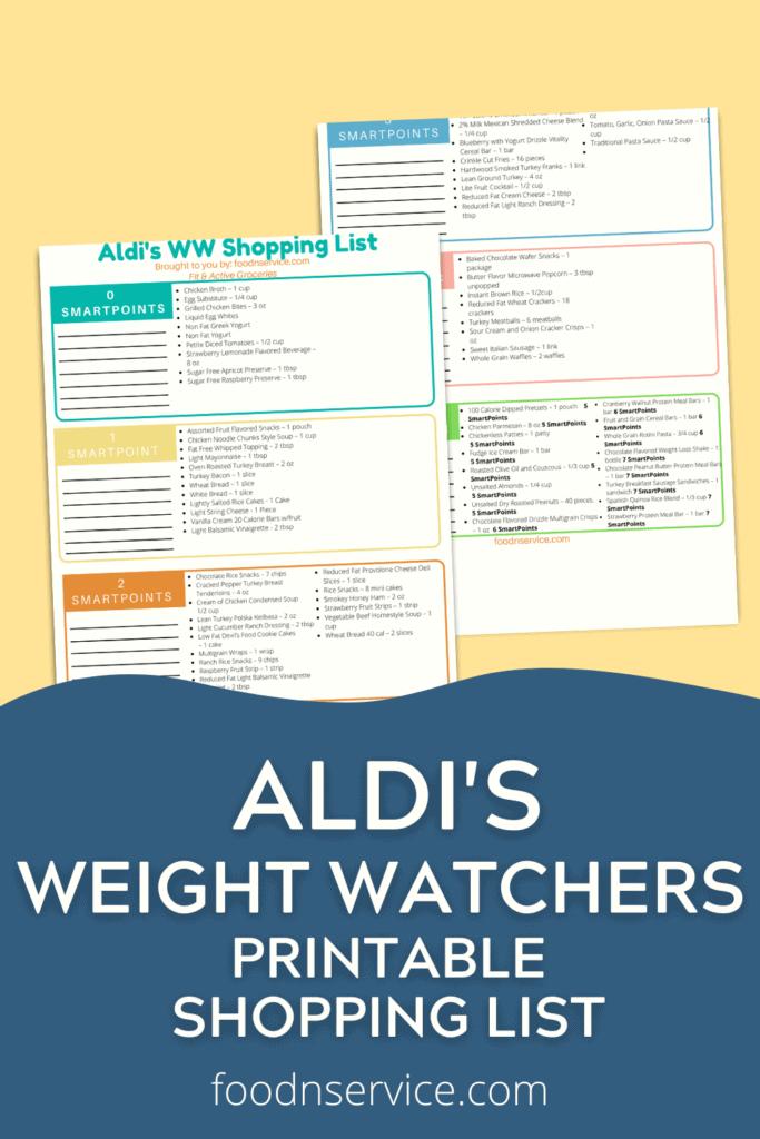 aldis weight watchers shopping list