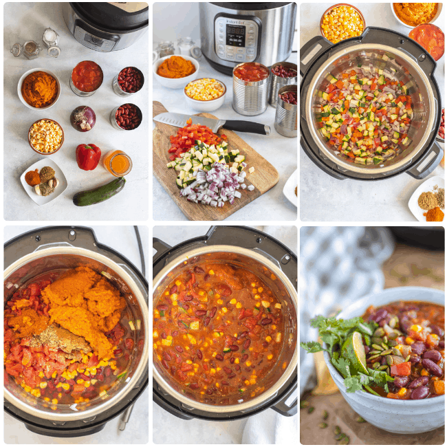 instant pot pumpkin chili ingredients and inprocess photos