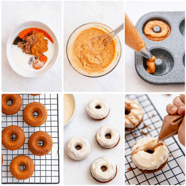 step by step instructions for pumpkin spice donuts. pumpkin spiced donuts with glaze