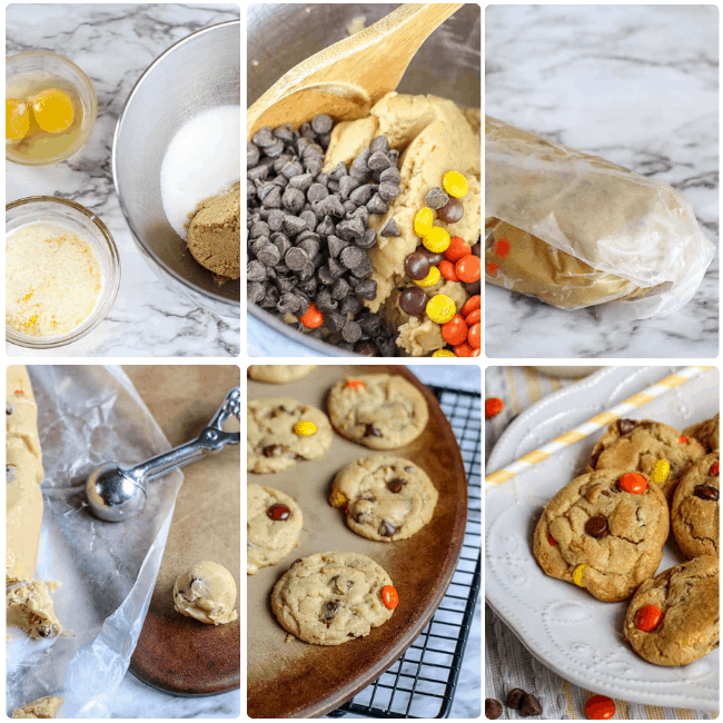 Reese's Pieces Cookies are my favorite chocolate chip cookie recipe filled with Reese's Pieces instead of chocolate chips. These easy cookies are a little bit peanut butter and a lot chocolate chip.