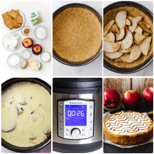 instant pot apple cheesecake inprocess step by step directions collage