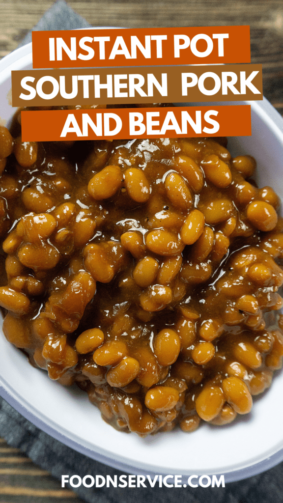 instant pot pork and beans in a white dish